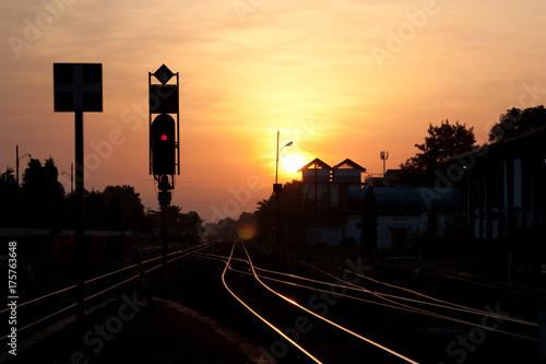 Deurstickers Nacht snelweg Bahnhof