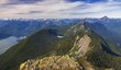 Panoramic Landscape View from Summit of Golden Ears Peak to Distant Snowy Coast Mountains and Lush Rainforest in British Columbia, Canada