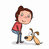 illustration cute girl  and dog cartoon