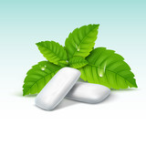 Vector chewing gum and green mint for fresh breath. Dental health background - 175772869