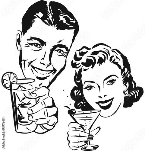 smiling 1950s couple raising a toast with cocktail glasses buy German Map 1840 smiling 1950s couple raising a toast with cocktail glasses