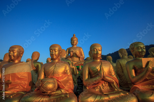 Fotobehang Boeddha buddha statue against clear blue sky in thailand temple