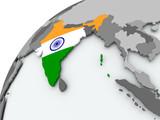 Flag of India on grey globe - 175785819