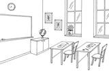 Classroom graphic black white interior sketch illustration vector - 175793803