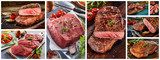 Raw and grilled steak panorama collage for a menu