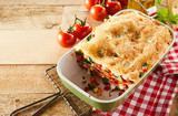 Healthy tasty dish of fresh vegetable lasagna