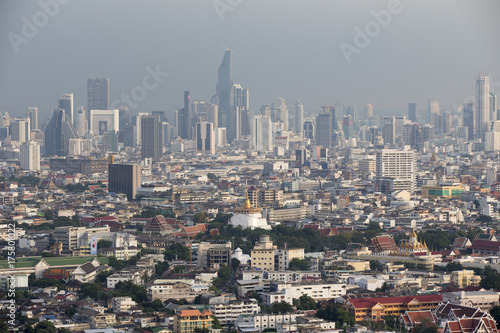 Aerial panorama view of Bangkok city skyline Poster