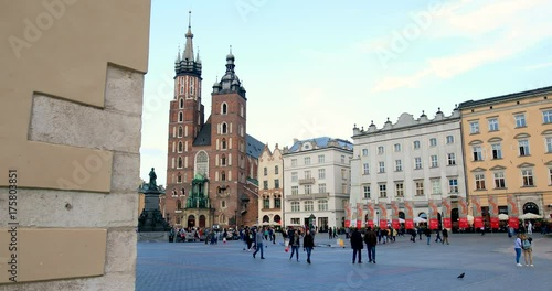 Historic quarter of Krakow, Poland - Main Market Square - St. Mary Church