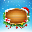 Blank wooden sign with Santa red hat and winter snow falling and star light vector illustration eps 10