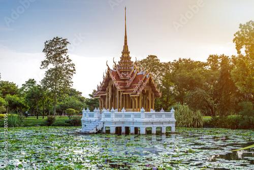 In de dag Bangkok Temple Pavilion landmark of Suan Luang Rama IX Public Park, Bangkok, Thailand