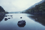 Landscape of Llyn Crafnant during foggy Autumn morning in Snowdonia National Park - 175808013