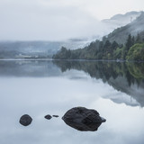 Landscape of Llyn Crafnant during foggy Autumn morning in Snowdonia National Park - 175808092