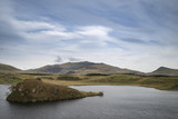 Evening landscape image of Llyn y Dywarchen lake in Autumn in Snowdonia National Park - 175808427