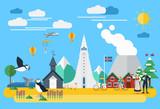 Flat design, Iceland landmarks and icons, Vector Illustration - 175808843