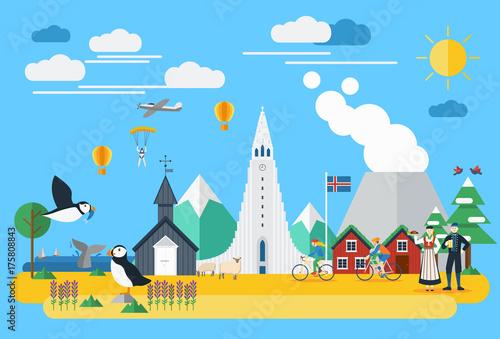 Flat design, Iceland landmarks and icons, Vector Illustration