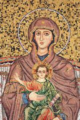 Vierge à l'enfant - Mosaïque à Taormina - Sicile / Italie
