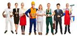 Grupa z wieloma zawodami jako reklama w pośrednictwie pracy