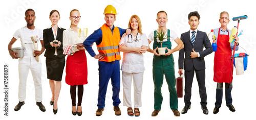 Foto Murales Gruppe mit vielen Berufen als Jobcenter Werbung