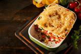 Tasty fresh vegetable lasagna appetizer
