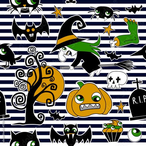 Staande foto Graffiti Pattern of halloween element patches: pumpkin, Skull, Spider, Slime, Cat, Bat, Bone .