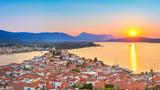 Sunset on Poros island in Aegean sea, Greece - 175819653