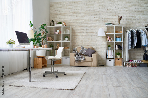 Background image of empty office space in cozy apartment with modern design