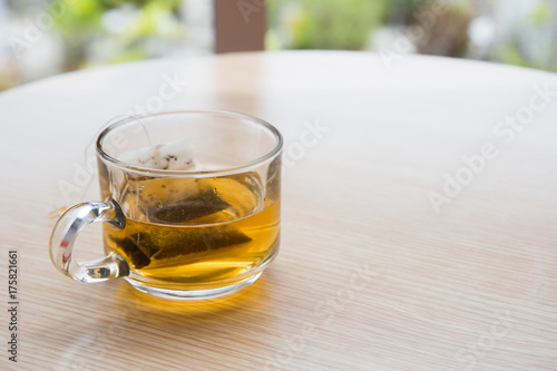 Papiers peints The A cup of tea with wooden table background