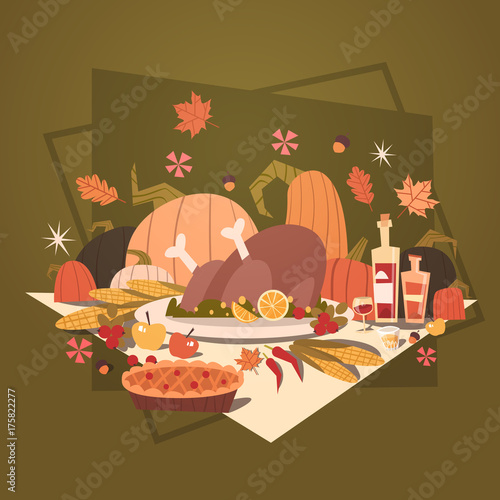 Happy Thanksgiving Day Autumn Traditional Harvest Holiday Greeting Card Flat Vector Illustration - 175822277
