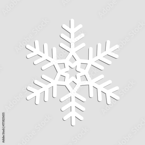 Foto op Canvas Wit Vector Snowflake 3D Isolated