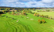 Beautiful golf course - autumn aerial view
