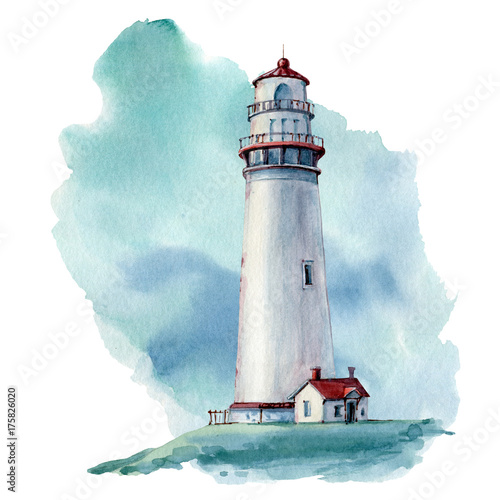 hand drawn watercolor lighthouse illustrstion - 175826020