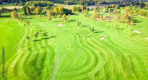 Papiers peints Vert chaux Different grass layers on golf course - aerial view