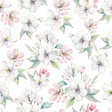hand drawn apple tree branches and flowers seamless pattern