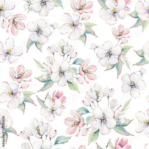 hand drawn apple tree branches and flowers seamless pattern - 175826281