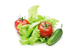 Fresh red tomatoes and cucumber on lettuce leaves - 175827609