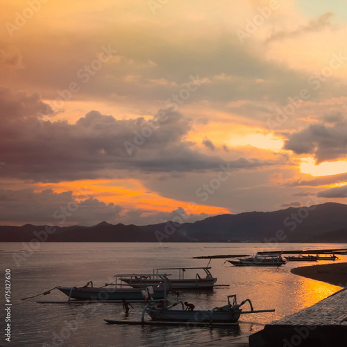Fotobehang Bali Bali. Beautiful sunset landscape