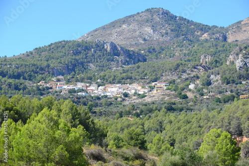 Spoed canvasdoek 2cm dik Olijf verstecktes Dorf im Gebirge - Costa Blanca -
