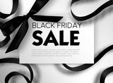 Black Friday sale discount promo offer poster or advertising flyer and coupon. - 175833478