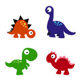 Set Cartoon Dinosaurs Wall Sticker