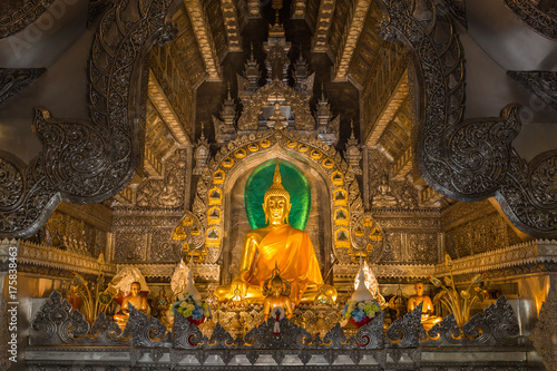 Fotobehang Boeddha Golden Buddhism sculpture set in the silver temple Wat Srisuphan, Chiang Mai, Thailand