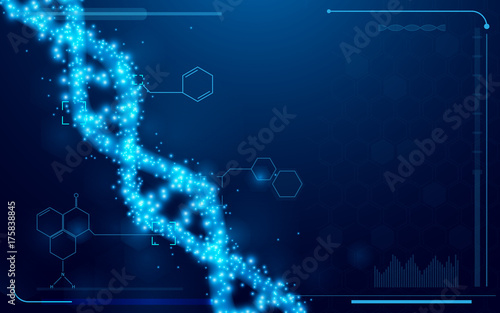 DNA And Molecules Interface Virtual Future Technology System Health Care Info Concept On Blue Background