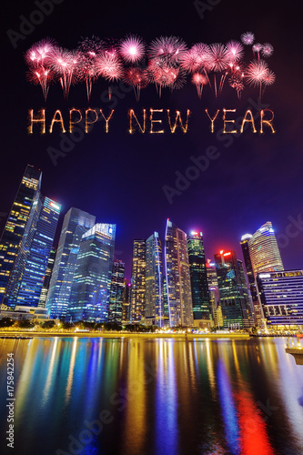 Happy new year firework Sparkle with central business district building of Singa Poster