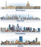 vector set of United States city skylines