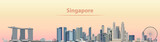 vector illustration of Singapore city skyline at sunrise - 175843626