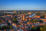 Fototapety Aerial view of the old town in Gdansk at sunset, Poland