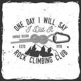 Vintage typography design with knot for quickly tying a climbing rope and carabiner. - 175844698