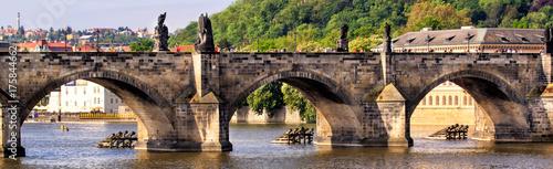 Foto op Plexiglas Praag Prague, Czech Republic skyline with historic Charles Bridge. Boat cruise on Vltava river