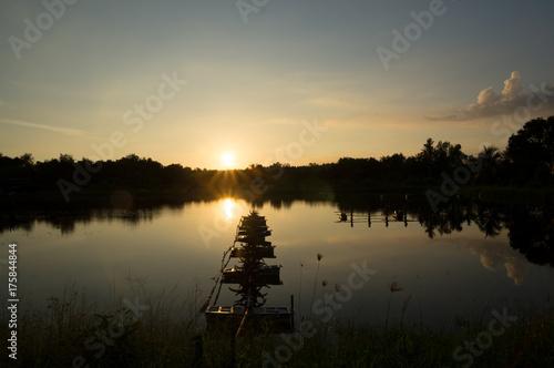 Aluminium Thailand Sunset in countryside