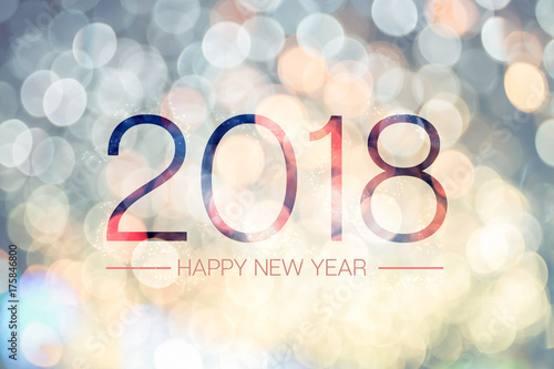 Foto Murales Happy new year 2018 with pale yellow bokeh light sparkling background,Holiday greeting card