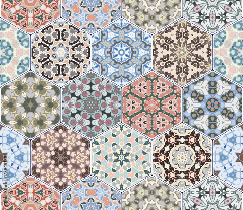 A rich set of hexagonal ceramic tiles. Colorful elements in oriental style. Vector illustration. - 175849258
